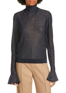 Chloé Bell Sleeve Metallic Knit Turtleneck Top