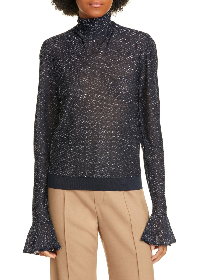 Chloé Bell Sleeve Metallic Knit Turtleneck Top
