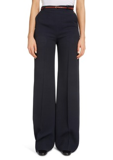 Chloé Belted Crepe Flare Wide Leg Trousers