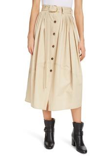 Chloé Belted Pleated Poplin Midi Skirt