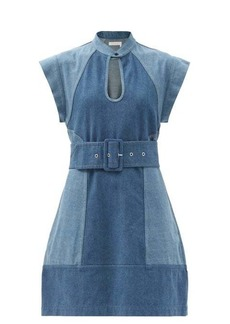Chloé Belted two-tone denim mini dress