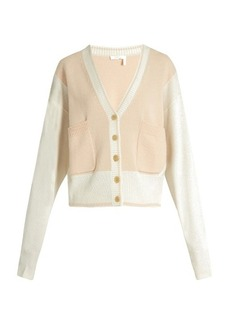 Chloé Bi-colour V-neck cashmere cardigan
