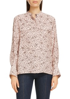 Chloé Bird Print Balloon Sleeve Silk Crepe Blouse