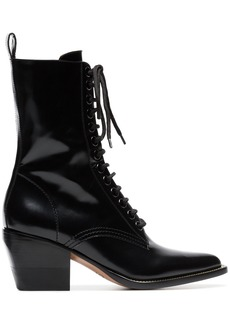 Chloé black 60 lace-up leather boots