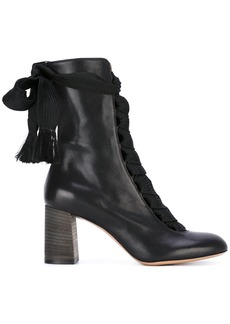 Chloé Black Harper 70 Leather Lace Up Boots