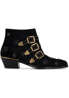 Chloé Black Susanna Buckle Suede Ankle boots