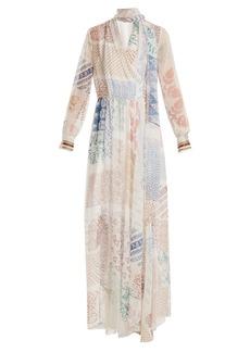 Chloé Block-print silk-georgette dress