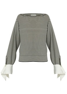 Chloé Boat-neck contrast-cuff striped jersey top