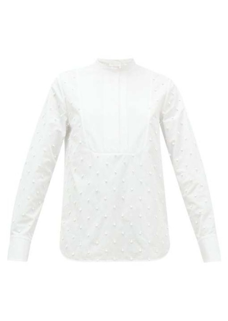 Chloé Bobble-embroidered cotton-poplin blouse