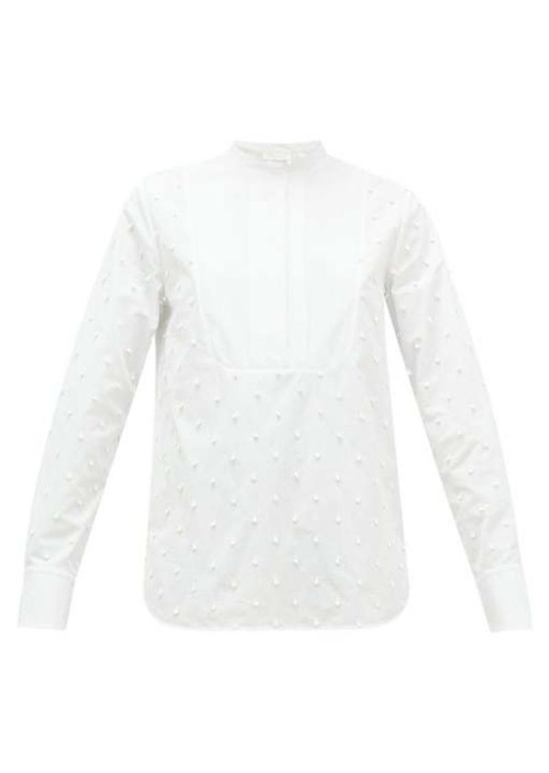Chloé Bobble-embroidered cotton-poplin blouse