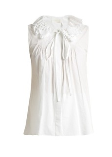 Chloé Broderie anglaise-collar cotton-poplin top