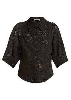 Chloé Broderie-anglaise point-collar shirt
