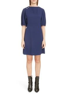 Chloé Bubble Sleeve Shoulder Button Crepe Dress