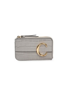 Chloé C Croc-Embossed Leather Zip Card Holder