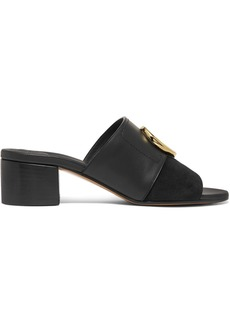 Chloé C Logo-embellished Leather And Suede Mules