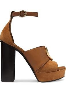 Chloé C Logo-embellished Leather And Suede Platform Sandals