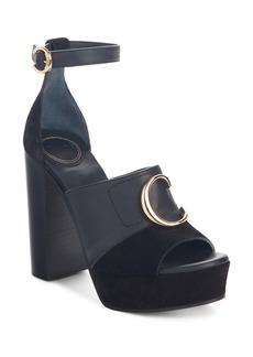 Chloé C Logo Platform Ankle Strap Sandal (Women)