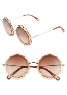 Chloé Caite 52mm Round Sunglasses