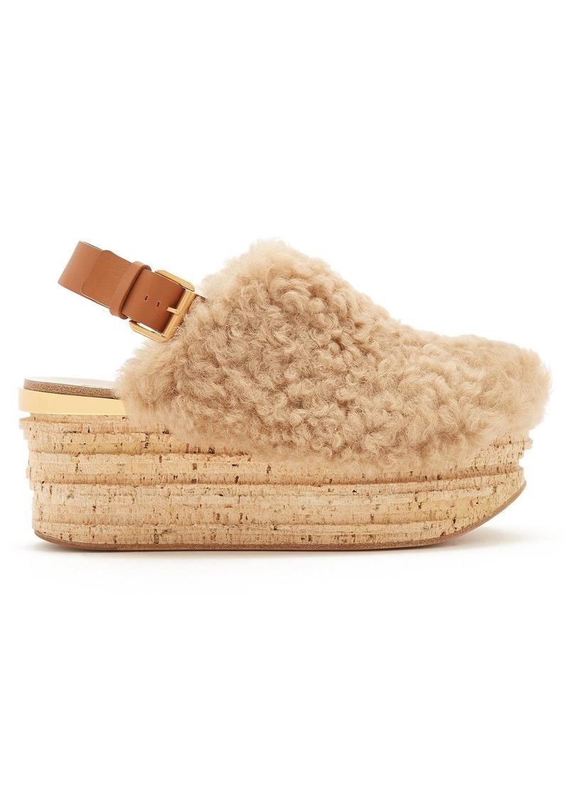 386b0f2375f Chloé Chloé Camilla shearling wedge sandals
