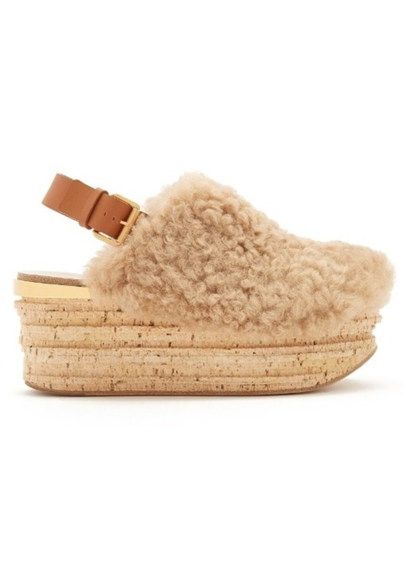Chlo 233 Chlo 233 Camilla Shearling Wedge Sandals Shoes Shop