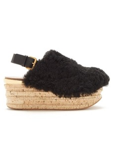 Chloé Camilla shearling wedge sandals