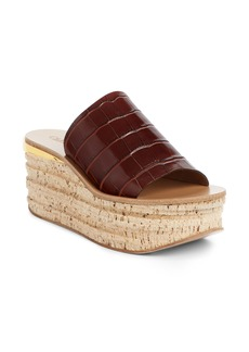 Chloé Camille Croc Embossed Cork Platform Wedge Sandal (Women)