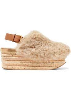 Chloé Camille leather-trimmed shearling platform slingback sandals