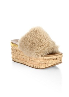 Chloé Camille Shearling Leather Wedge Sandals