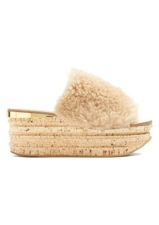 Chloé Camillie shearling wedge slides