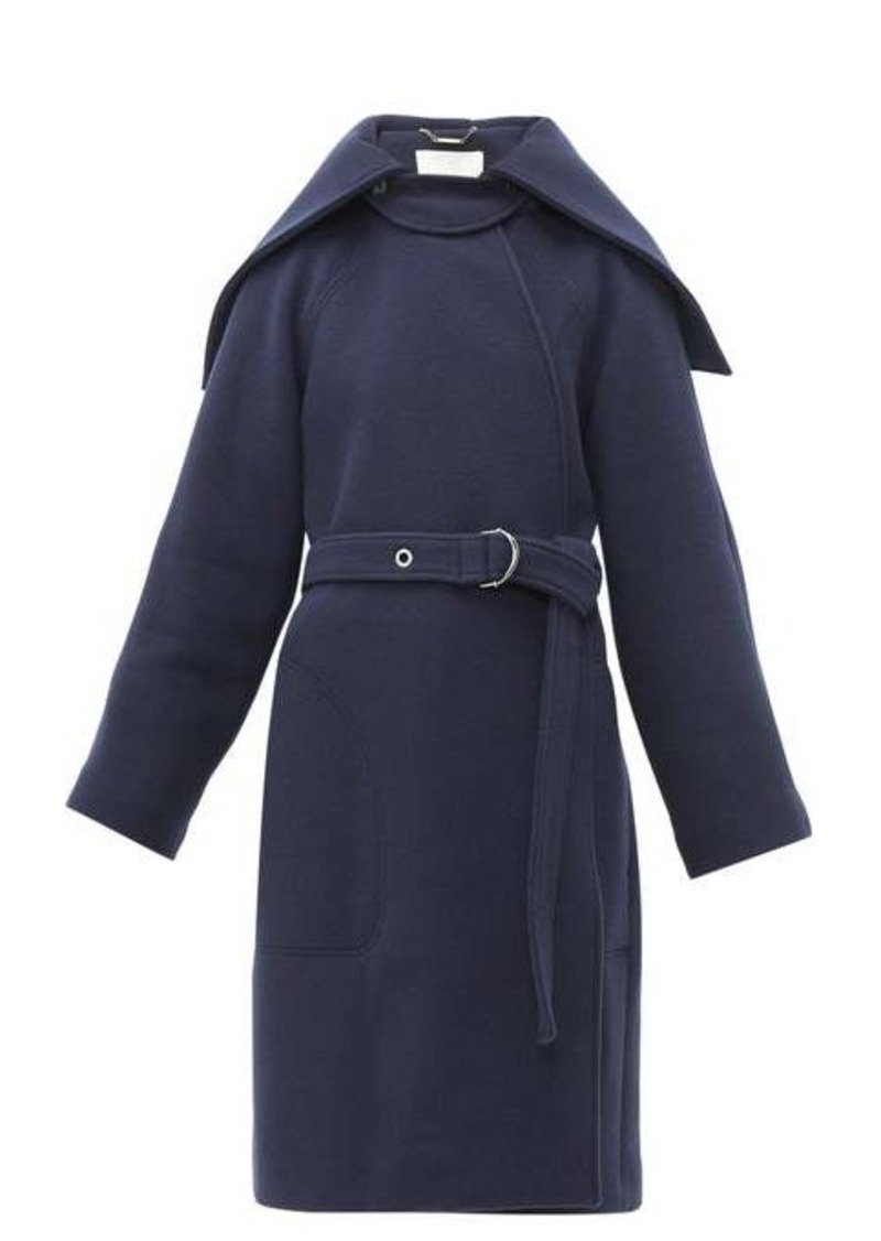 Chloé Cape-collar belted wool-blend coat
