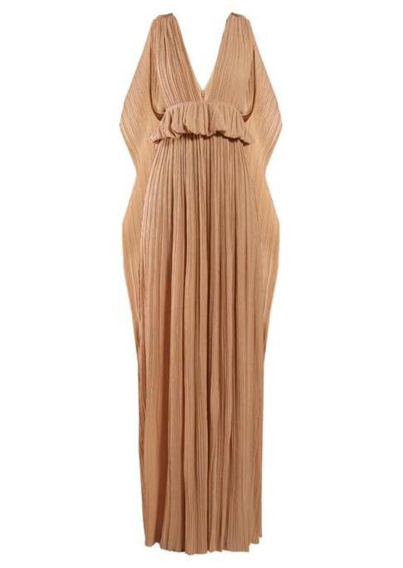 Chloé Cape-panel plissé-chiffon gown