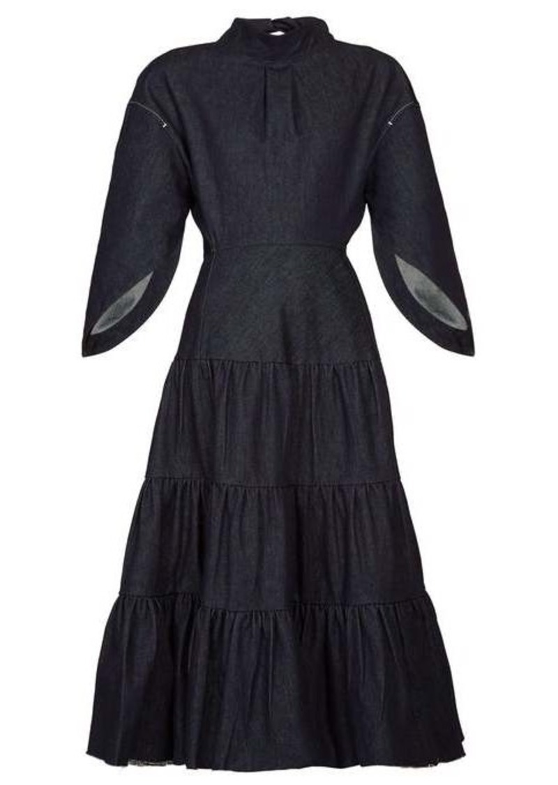 Chloé Cape-sleeve tiered denim dress
