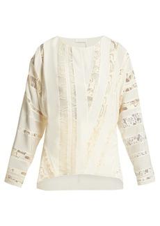 Chloé Chantilly-lace silk-crepe blouse