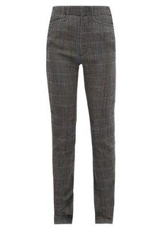 Chloé Checked wool-blend slim-leg trousers