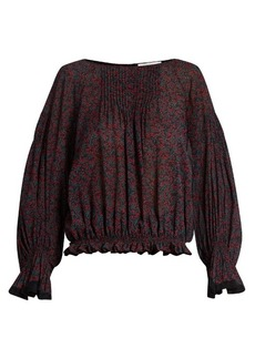 Chloé Cherry-print cotton and silk-blend crepon top