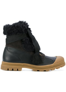 Chloé chunky sole shearling boots - Black