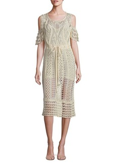 See by Chloé Cold-Shoulder Crochet Cotton Dress
