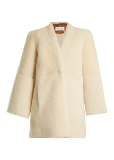 Chloé Collarless shearling coat