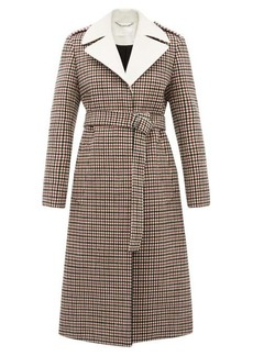 Chloé Contrast-lapel checked wool-blend coat