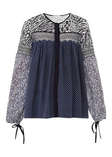 Chloé Contrast-print lace-panel georgette top