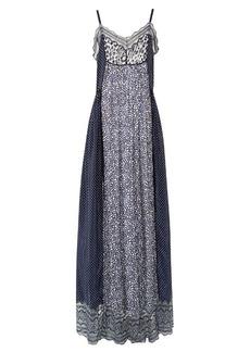 Chloé Contrast-print lace-trimmed maxi dress