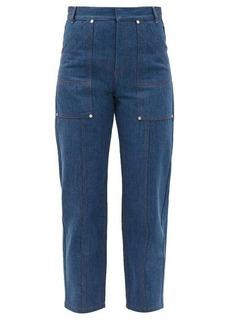 Chloé Contrast-stitch high-rise straight-leg jeans