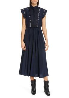 Chloé Contrast Stitch Midi Dress