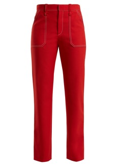 Chloé Contrast-stitch straight-leg trousers