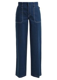 Chloé Contrast-stitching wide-leg denim jeans