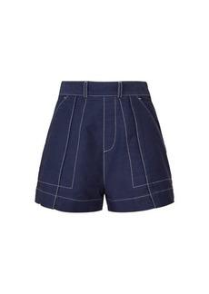 Chloé Contrast-topstitching cotton-twill shorts