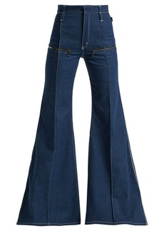 Chloé Contrast-topstitching flared jeans