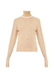 Chloé Contrasting wool-blend roll-neck sweater
