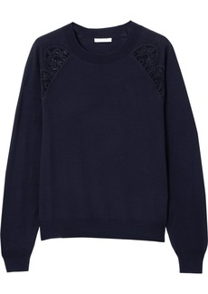 Chloé Cotton-blend Lace-trimmed Wool Sweater