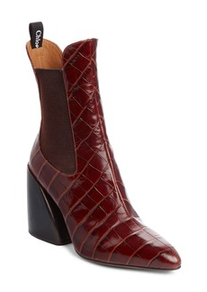 Chloé Croc Embossed Chelsea Boot (Women)